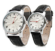 Pair of Couple's Elegant PU Leather Style Analog Quartz Wrist Watches (Black)