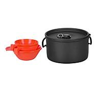 2-3 personas cookset camping (1.2l olla 2 pcs cuenco 200 ml 2 piezas taza de 175ml)