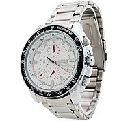 Men's Water Resistant Alloy Analog Quartz Wrist Watch (Silver)
