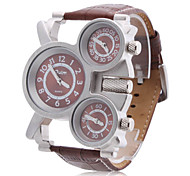 Men's Military Style Three Time Zones Brown PU Band Quartz Wrist Watch