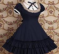 À manches courtes mi-longueur de l'école Coton Robe Lolita
