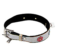 Dog Collar Adjustable/Retractable / Rhinestone / Studded / Rivet Yellow / Gray PU Leather