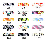 16 PCS Nail Foil Art Full Cover Stickers Manicure-White and Black Series