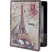 retro Eiffelturm Muster pu Ledertasche mit Ständer für iPad 2/3/4