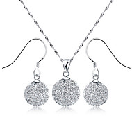 925 Fine ilver Crytal Ball tyle Necklace and Earring uit