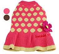 Dog Sweater Brown / Pink Winter Polka Dots