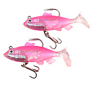 2 pcs Isco Suave / Amostras moles Rosa / Amarelo / Luminoso/Fluorescente g Onça mm polegada,Plástico Suave / ChumboPesca de Mar / Pesca