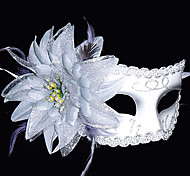 Feather Flower White Pattern Plastic Half-face Mask