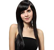 Sin tapa larga recta pelucas sintéticas Negro
