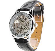 Herren Mechanische Uhr Armbanduhr Transparentes Ziffernblatt Automatikaufzug PU Band Schwarz