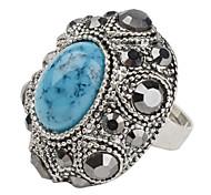cristal de ágata moda rodada repleta de anel