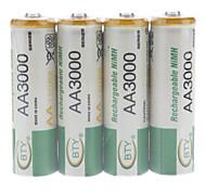 BTY recargable Ni-MH AA batería (3000 mAh)