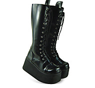 Handmade Black PU Leather 9cm Platform Country Lolita Boots