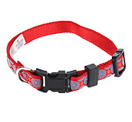 Cat / Dog Collar Adjustable/Retractable / Polka dots Red / Green Nylon