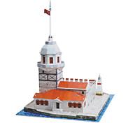 Quebra-cabeças Quebra-Cabeças 3D Blocos de construção DIY Brinquedos Castelo Papel Vermelho / Branco Modelo e Blocos de Construção