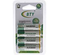 Nueva BTY recargable Ni-MH AA batería (3000 mAh)