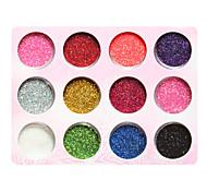 12-Color Plastic Twinkle Nail Art Decorative Powder