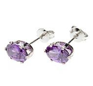 Oval Purple Zircon Earrings