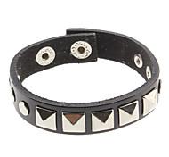 Square Rivet Black Leather Bracelet