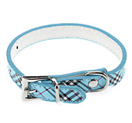 Dog Collar Plaid/Check Blue / Pink / Purple PU Leather