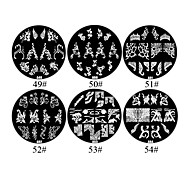 1PCS 2D Metal Flowers Nail Art Image Stamp Plate (Assorted Colors,NO.49-54)