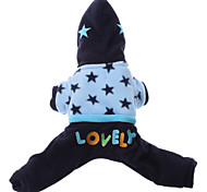 Dog Hoodie / Clothes/Jumpsuit Blue Dog Clothes Winter Embroidered