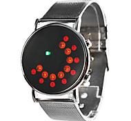 Vestido Unisex Estilo Aço Digital Relógio de pulso LED (Prata)