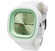 Quartz Uhr mit Silikon Armband (Weiß)