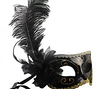 Classic Feather and Flower Black PVC Holiday Half-face Mask