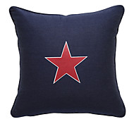 Red Star Canvas Decorative Pillow Cover