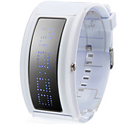 Unisex Blue LED Programable Digital White Silicone Band Wrist Watch