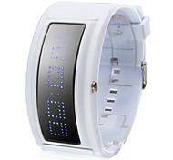 Nuovo orologio 108-LED (blu), con 10 Lettere, cinturino bianco