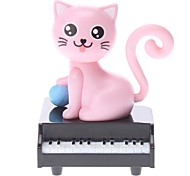 Solar Powered Cat Piano Head Shaking Desktop Toy (Random Color)