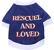 Dog Shirt / T-Shirt Blue Dog Clothes Summer Spring/Fall Letter & Number Casual/Daily