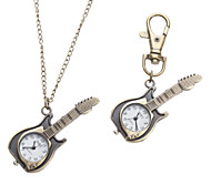 Unisex Guitar Style Alloy Analog Quartz Keychain Necklace Watch (Bronze)