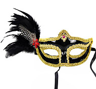 Aristocratic Flower and Diamonded Black PVC Holiday Half-face Mask