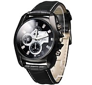 Men's Business Style Black Dial PU Leather Band Quartz Wrist Watch Cool Watch Unique Watch Fashion Watch