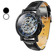 Men's Manual Mechanical Hollow Case Black PU Band Analog Wrist Watch (Assorted Colors)