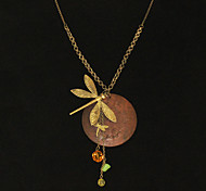 Coppery Plated Dragonfly Shaped Alloy Necklace
