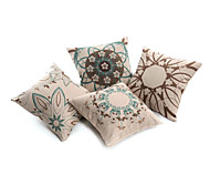 Set of 4 Artistic Floral Decorative Pillow Cover
