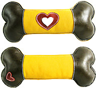 Dog Toy Pet Toys Chew Toy Squeaking Toy Squeak / Squeaking Bone Yellow Genuine Leather