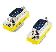 20564 Serial RS232 DB9 9-pin macho a macho (adaptadores de plata y amarillo, 2 PCS)
