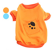 Paw Print Simple Style Inner Fleeces Shirt with Pocket for Dogs (M,Assorted Color)