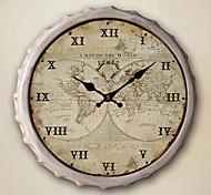 """13.5 """"h mapa do mundo relógio de parede de metal"""