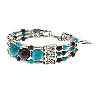 Folk Style 3 Perlen Totem Pattern Silver Plating Bracelace