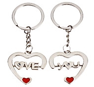 1-Pair Aluminum Heart Shape Couple Keychain