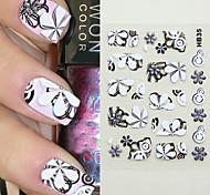 5PCS Mixed-style 4D Nail Art Stickers HB Series Black Cartoon Transparent