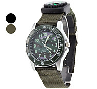 Unisex Compass Camouflage Dial Fabric Band Quartz Analog Wrist Watch  (Assorted Colors)
