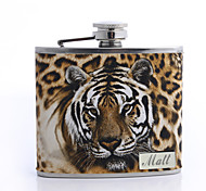 Personalized Father's Day Gift Leopard Print 5oz PU Leather Flask