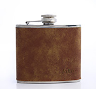 Personalized Father's Day Gift Brown 5oz PU Leather Flask